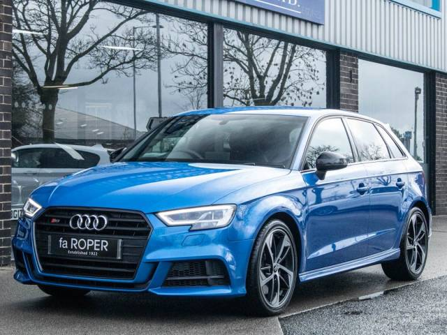 Audi A3 S3 Sportback 2.0 TFSI quattro Black Edition S tronic 300ps Hatchback Petrol Ara Blue Crystal at fa Roper Ltd Bradford