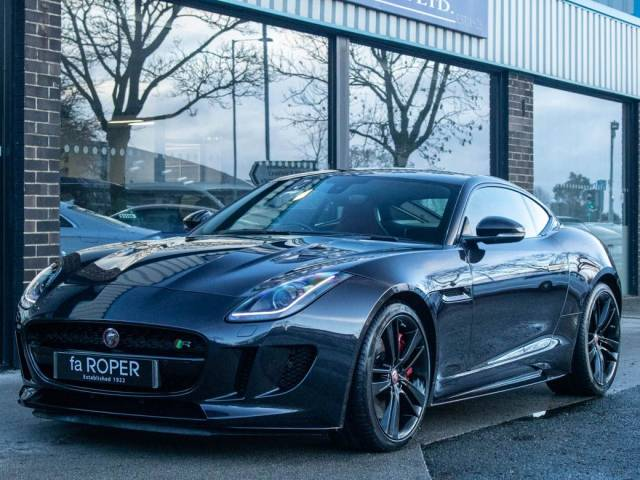Jaguar F-type 5.0 Supercharged V8 R Auto AWD 550ps Coupe Petrol Blackberry Premium Metallic at fa Roper Ltd Bradford
